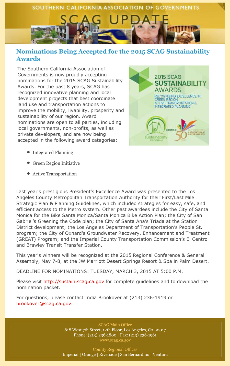 Nominations Being Accepted for the 2015 SCAG Sustainability Awar