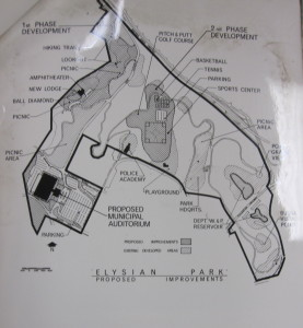 Map of Elysian Park, Proposed Improvements. Photo courtesy of LA City Archives, Marvin Braude Papers.